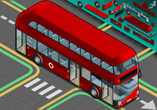 Isometric Double Decker Bus with Open Doors Stock Image