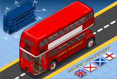 Isometric Double Decker Bus in Rear View Royalty Free Stock Images