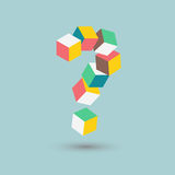 Isometric doubts, difficult puzzle, question mark cubes form, vector illustration Stock Image