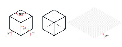 Isometric drawing a thirty degreesangle is applied to its sides.. The cube opposite. Isometric Grid vector illustration Royalty Free Stock Images