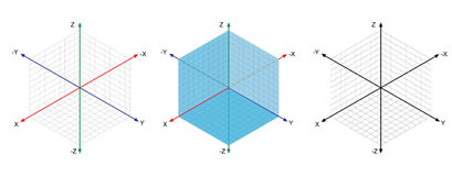 Isometric drawing a thirty degreesangle is applied to its sides. The cube opposite. Isometric Grid vector Royalty Free Stock Photo