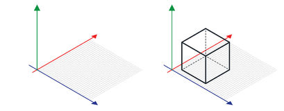 Isometric drawing a thirty degreesangle is applied to its sides. The cube opposite. Isometric Grid vector. Illustration Stock Photo
