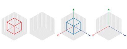 Isometric drawing a thirty degreesangle is applied to its sides. The cube opposite. Isometric Grid vector Royalty Free Stock Images