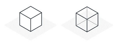 Isometric drawing a thirty degreesangle is applied to its sides. The cube opposite. Isometric Grid vector. Illustration Royalty Free Stock Images