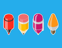 Isometric drawing tool icons. Royalty Free Stock Photos