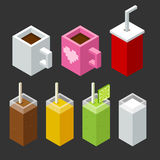 Isometric drinks. Set of stylized isometric cups and glasses of drinks: coffee, tea, soda, juice, smoothie and milk Royalty Free Stock Photo