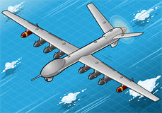 Isometric Drone Airplane Flying in Front View. Detailed illustration of a Isometric Drone Airplane flying with Bombs in Front ViewThis illustration is saved in stock illustration