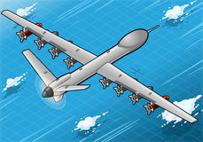 Isometric Drone Airplane Flying in Rear View. Detailed illustration of a Isometric Drone Airplane flying with Bombs in Rear ViewThis illustration is saved in vector illustration