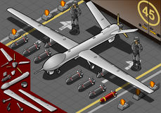 Isometric Drone Airplane Landed in Front View. Detailed illustration of a Isometric Drone Airplane Landed with Bombs and Guards in Front View This illustration royalty free illustration
