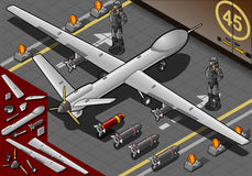 Isometric Drone Airplane Landed in Rear View. Detailed illustration of a Isometric Drone Airplane Landed in Rear View with Bombs and Guards. This illustration is vector illustration