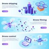 Isometric drone banner. Flight drones delivery, uav plane tablet stock illustration