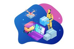 Isometric Drone Fast Delivery of goods in the city. Technological shipment innovation concept. Autonomous logistics. Robot delivery web concept stock illustration