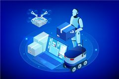 Isometric Drone Fast Delivery of goods in the city. Technological shipment innovation concept. Autonomous logistics. Robot delivery web concept royalty free illustration
