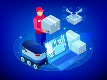 Isometric Drone Fast Delivery of goods in the city. Technological shipment innovation concept. Autonomous logistics. Robot delivery web concept vector illustration