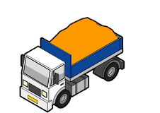 Isometric Dumper Truck Loaded. Dumper truck illustration in Isometric 3d view loaded with sand Stock Images