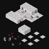 Isometric dungeon elementy Zdjęcie Stock