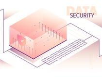 Isometric duzi dane - przetwarzać pojęcie ilustrację Obraz Stock