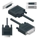 Isometric DVI adaptator, Cyfrowego Wizualnego interfejsu kablowy włącznik, cyfrowy wideo przekaz odizolowywający na bielu ilustracja wektor
