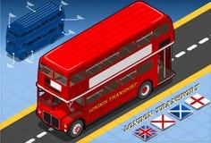 Isometric Dwoistego Decker autobus w Frontowym widoku Obraz Royalty Free