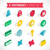 Isometric e-payment icons set vector illustration