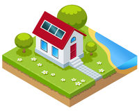 Isometric Eco-house with solar cells Royalty Free Stock Images