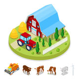 Isometric Ecology Concept. Renewable Energy Wind Mill. Agriculture Industry. Isometric Ecology Concept. Agriculture Industry with Farm and House. Vector flat 3d Stock Images