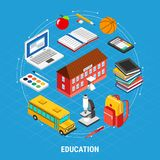 Education Isometric Concept. Isometric education concept with different school objects on blue background 3d vector illustration Royalty Free Stock Photos