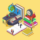 Isometric education graduation concept with people. In flat vector style. Back to school 3d illustration. People student and pupil, knowledge and university Royalty Free Stock Photo