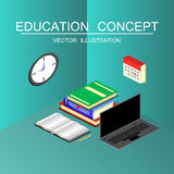 Isometric education and graduation vector concept. 3d back to sc Stock Photos