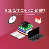 Isometric education and graduation vector concept. 3d back to sc Royalty Free Stock Image