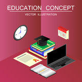 Isometric education and graduation vector concept. 3d back to sc Royalty Free Stock Photos