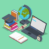 Isometric education vector concept. 3d back to. School background in flat style. Object pencil, element for lesson, book and laptop illustration Royalty Free Stock Photos