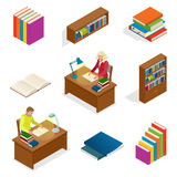 Isometric Educational Concept. Library elements Bookcase, bookshelf. The man is reading a book at the table. Used for Stock Image