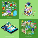 Isometric Educational Concept. Online Education, College Town, Graduation with Cap and Students. Vector 3d flat illustration Royalty Free Stock Photography