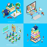 Isometric Educational Concept. Online Education, Online Library, Graduation with Cap and Students Stock Photography