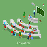 Isometric Educational Process. Flat 3d University Lecture Room with Teacher and Students Stock Images