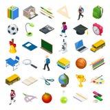 Isometric edukacj ikony ustawiać Popiera szkoła, miejsce pracy, szkoła dzieciaki i inni elementy, również zwrócić corel ilustracj royalty ilustracja