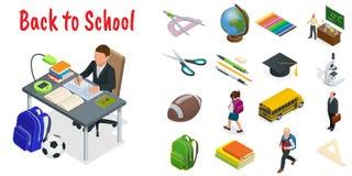Isometric edukacj ikony ustawiać Popiera szkoła, miejsce pracy, szkoła dzieciaki i inni elementy, również zwrócić corel ilustracj ilustracji