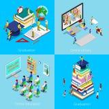 Isometric Edukacyjny pojęcie Online edukacja, Online biblioteka, skalowanie z nakrętką i ucznie, ilustracji