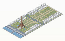 Isometric Eiffel tower and Champ de Mars Royalty Free Stock Image