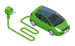 Isometric Electric car in refill. Electric refueling. Eco transportation. Vector illustration isolated on white Stock Photos