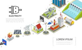 Isometric Electricity Concept. With hydroelectric and fuel power stations biomass energy factory gas holder house windmill solar panel electric transformer vector illustration
