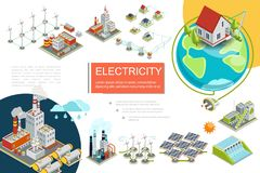Isometric Electricity Infographics vector illustration