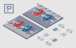 Isometric Electrocar parking Stock Photo