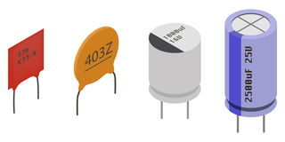 Isometric Electronic components Capacitors Stock Image
