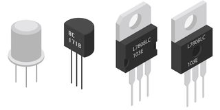Isometric Electronic components Transistors Stock Image
