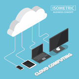 Isometric electronic devices connecting with cloud Royalty Free Stock Images
