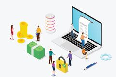 Isometric electronic receipt concept with laptop and people team and money and online payment - vector royalty free illustration