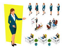 Isometric elegant business women in formal clothes. Base wardrobe, feminine corporate dress code. Business negotiations. Concept. Set for creating an office Royalty Free Stock Photos