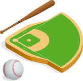 Isometric elements baseball set. Baseball fields, leather ball and wooden bats. Vector illustration Royalty Free Stock Photo